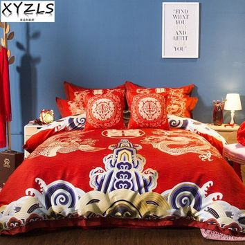 XYZLS US/AU/UK Queen Wedding Three-piece Kit Traditional Chinese Red Bedding Set Dragon Full King Double Valentine Bedclothes