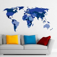 MADE IN THE USA - Wall Decals Map Of The World Removable Multicolored Colorful Stickers Map All Countries Vinyl Home Decor DD115