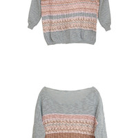 Unique Design Loose Girls Sweaters Cyan  : Wholesaleclothing4u.com