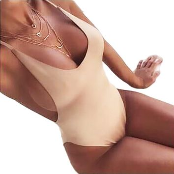 Deep V Revealing Sexy Nude  swimsuit Backless Swimwear women Bathing suit swim suit for women Monokini beach wear V111