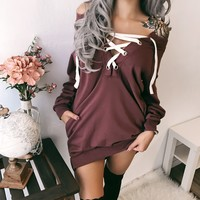 Luna Lace Up Off Shoulder Pocket Sweater Dress (BEAN)