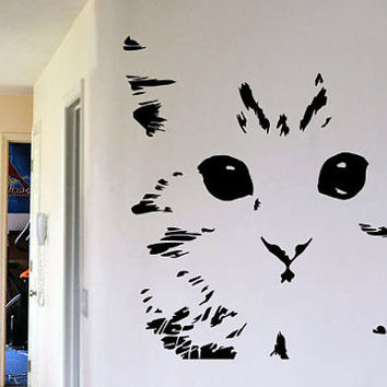 Great Cat Wall Art Wall Decal Kitten Decal Sticker Face Art Vinyl