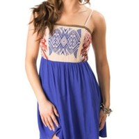 Flying Tomato Women's Blue with Aztec Embroidered Top Sleeveless Dress