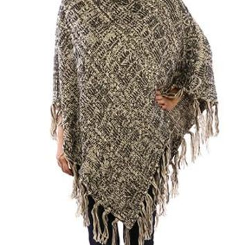 Poncho Turtleneck Knit Cable Basket Weave Tassel