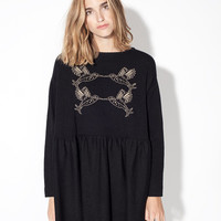 COLIBRI Dress - Hummingbird black and beige knitted oversize dress
