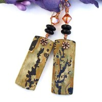 Paintbrush Jasper Gemstone Earrings, Black Onyx Chili Pepper Swarovski Handmade Dangle Jewelry