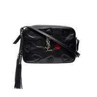 Saint Laurent Black Monogram Lou Hearts Crossbody Bag - ShopBAZAAR