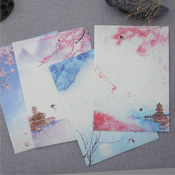 8 Pages/Set Retro Classic poetry illustration Season Plants Flowers Painting Letter Paper Writing Paper Love Letter Stationery