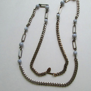 Haskell Miriam Necklace Curb Link Blue Glass Beads Vintage Jewelry