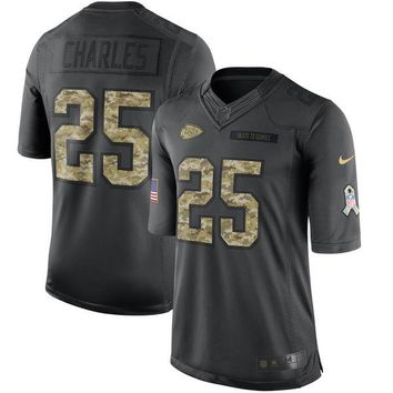 Men's Kansas City Chiefs Jamaal Charles Nike Anthracite Salute to Service Limited Jersey