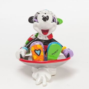 Disney Mickey in Disk Holiday Sled by Britto Mini Resin Figurine New with Box