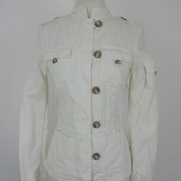 Zara 'Cien Por Cient' Cream Cotton Twill Safari Jacket XS/S
