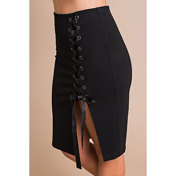 Venture Onwards Lace Up Skirt (Black)
