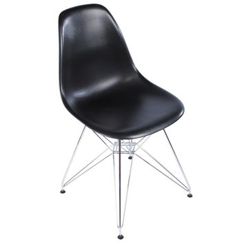 Eames Style Side Chair, Black with Metal Base