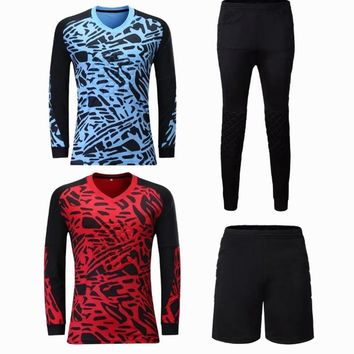 Survetement football goalkeeper jersey sets long sleeve sport  Training suit soccer goalkeeper shorts/Pants uniform thick padded