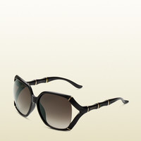 Gucci - large rectangle frame sunglasses with bamboo effect with gucci logo on temples. 289668J16911005