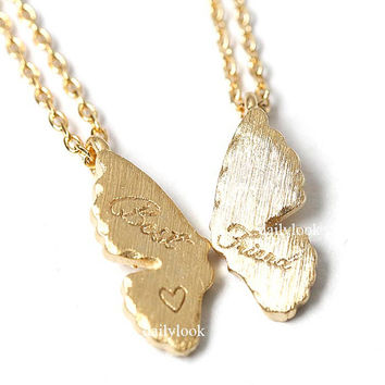 best friend necklace, butterfly necklace, friendship necklace, best friends, woman necklace, bridesmaid gift, friend, heart necklace