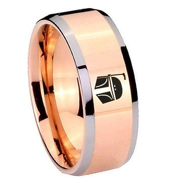 8MM Rose Gold Star Wars Boba Fett Sci Fi Science Bevel Edges 2 Tone Tungsten laser Engraved Ring