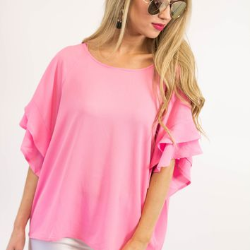Lily Ruffle Sleeve Top | Pink