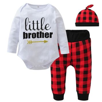 New 2018 Autumn Baby Boys Clothing Set Long Sleeve Letter Little Brother Romper+Red lattice Pants+Hat Newborn Toddler Clothes