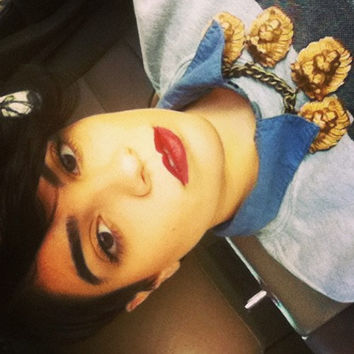 AS SEEN on NY Fashion Blogger Nadia Aboulhosn - W.I.L. by Ouroboros Designs Gilded Lion Necklace