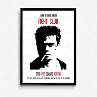 Fight Club Poster Print - It's Only After We've Lost Everything That We're Free - Multiple Sizes - 8x10 up to 24x36 - Alternate Movie Poster