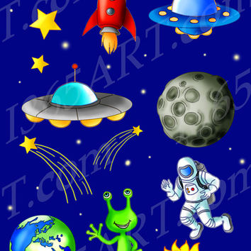 Outer Space Science Clipart Set Astronaut, Rocket, Flying Saucer, Alien, Stars, Planets, Meteor Illustrations Hand Drawn Clip Art Commercial
