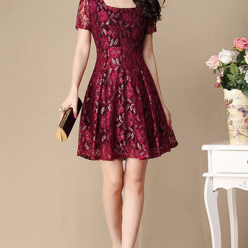 Red Floral Lace Fit and Flare Dress