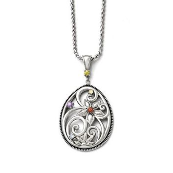 Stainless Steel Multicolor Floral Pendant Necklace