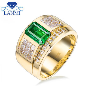 Luxury Natural Colombia Emerald Wedding Men's Rings Solid 14K Yellow Gold Princess Diamond Engagement Jewelry for Husband