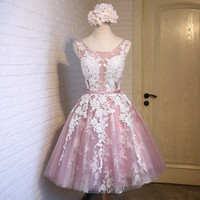 New Fashion Short Pink Lace Flower Banquet Short Evening Dress The Bride Slim Sexy Transparent A-line Party Gown Formal Dresses