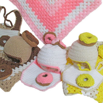 Baby Hat, Blanket, Bib, Newborn, Crochet Donut Set