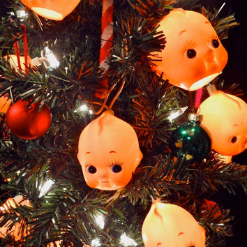Delightfully Creepy Baby Doll Head String Lights -Unique Halloween Decorations, Horror Decor, Kewpie, Creepy Cute Home Furnishings