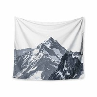Snow Capped Mountains - Black White Nature Photography Wall Tapestry