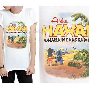 Licensed cool Disney LILO & STITCH OHANA MEANS FAMILY Fitted Tee Shirt T HOT TOPIC JRS. S-2X