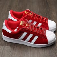 Adidas Shell suede shoes  red