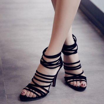 Stiletto Heel Suede Peep-toe Straps Zipper Sandals