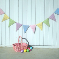 Easter Photography Prop Burlap Banner in Pastel Colors / Baby Shower Decoration