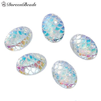 "DoreenBeads Resin Mermaid Fish /Dragon Scale Dome Seals Cabochon Oval White AB Color 18mm( 6/8"") x 13mm( 4/8""), 50 PCs"