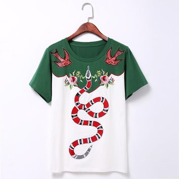 HCXX Gucci  Snake Embroidery T Shirt