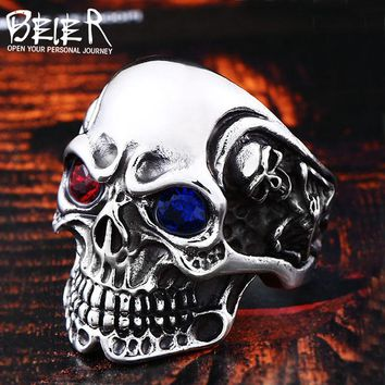 Stainless Steel men's Gothic Carving Skull Ring with red/blue eye rock personality biker Jewelry