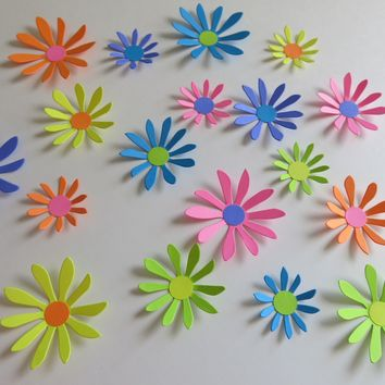 "Neon Rainbow Paper Daisy Stickers, 18 Wall Decals, Unicorn Party Theme, 2-3"" Blooms"