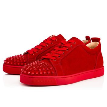 Christian Louboutin Louis Junior Spikes Men's Women's Flat Red Rougissime Suede 113057