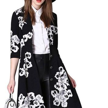 Single Breasted Women Trench Coats Slim Print  A-Line Zanja Mujeres Turn-down Collar Long Autumn Outwears