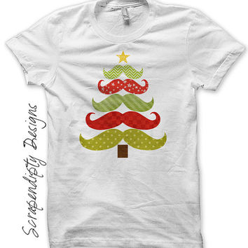 Iron on Christmas Shirt PDF - Mustache Tree Iron on Transfer / Mustache Christmas Tree Shirt / Cute Baby Christmas Outfit / Print IT333-C