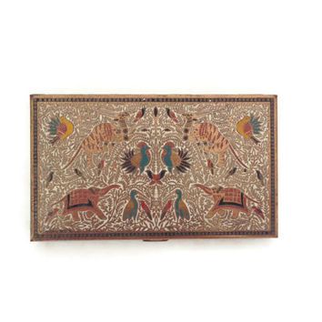 Vintage Cigarette Case, Volupte 1950, Brass and Enamel with Exotic Jungle Animals and Birds, On Both Sides, Spring Clasp, Vintage Tobacciana