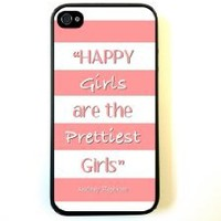 iPhone 4 Case Silicone Case Protective iPhone 4/4s Case AUdrey Hepburn Quote Happy Girls Coral Pink