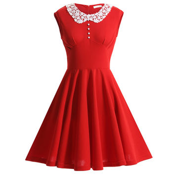 OWIN New Ladies 2017 Women's Dress 50's Classical Style Rockabilly Cocktail Party Dress For Women Solid Red Black Blue