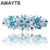 Newest Flower Hair Barrettes 2017 Women's fashion Full Diamond Crystal Hairpin Hair Clips Female Alloy Big Hairpins Headdress.