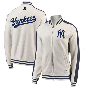 New York Yankees Fanatics Branded Women's Heritage Primary Full-Zip Track Jacket – Cream/Navy